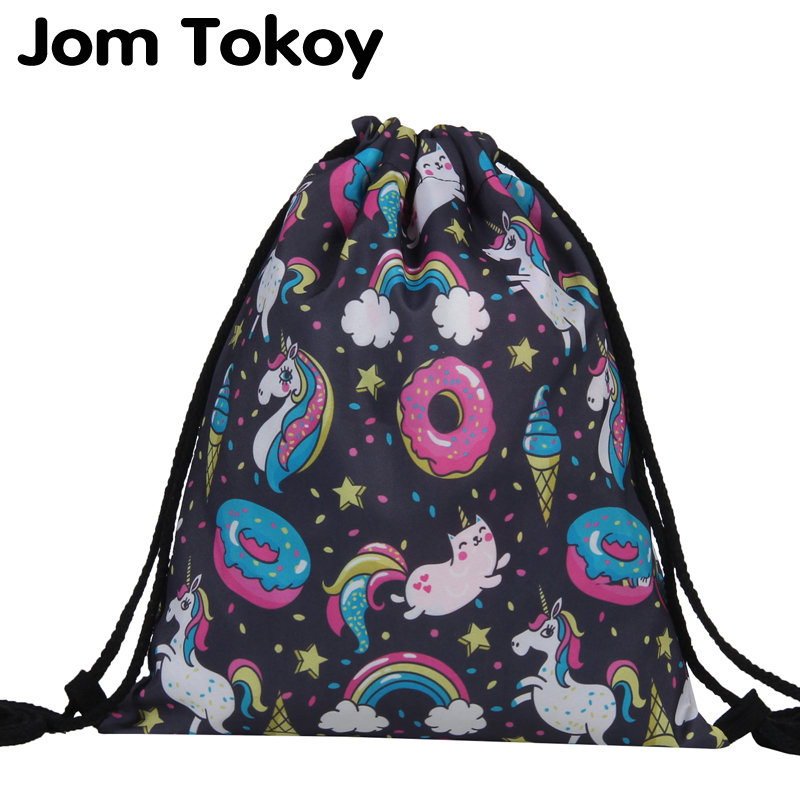 Jom Tokoy Fashion Drawstring Bag Printing Unicorn Mochila Feminina Drawstring Backpack Women Daily Casual Girl's Knapsack 29037