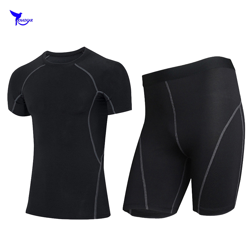 Для мужчин сжатия рубашка База Слои короткий рукав футболки эластичность Колготки для новорождённых Шорты для женщин комплект ММА Rashguard Фи... ...