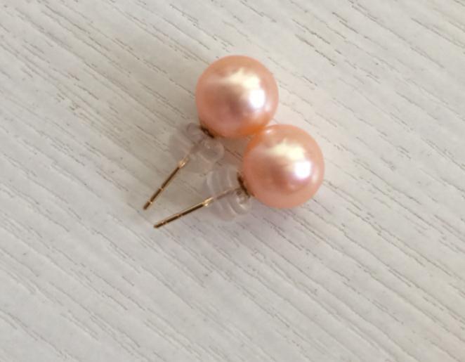 Charmante paire de 10-11mm mer du sud ronde or rose perle boucle d'oreille 18k