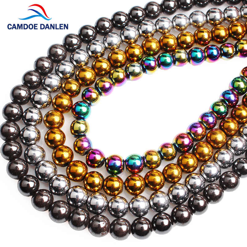 CAMDOE DANLEN Naturstein Schwarz Gold Silber Regenbogen Hämatit Perlen Runde 4-12 MM Fit Diy Schmuck Charme Armband halskette,