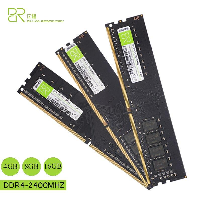 BR Nouvelle UDIMM Memoria DDR4 4 gb BÉLIERS 1.2 v 2400 mhz Pour Intel DDR4 8 gb 16 gb RAM mémoire DIMM 288pin Pour Ordinateur De Bureau Jeu Ram