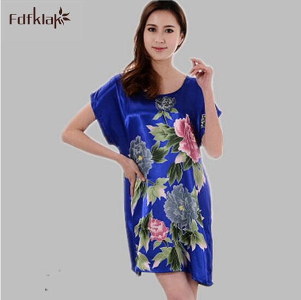 New 2017 Silk nightwear ladies sexy sleepwear   sleepshirts   print   nightgown   female summer night dress women night gown A184