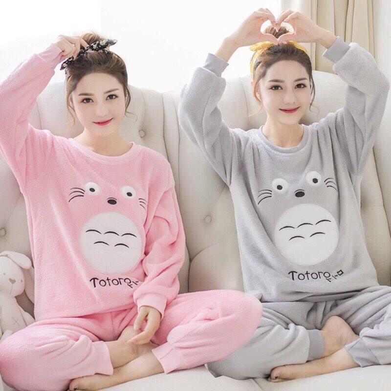 2018 Winter Thick Warm Flannel Pajama Sets For Women Long Sleeve Coral Velvet Pyjama Girl Cute Cartoon Totoro Sleepwear Homewear