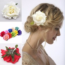 цена на 1pcs / lot new DIY hair ornaments headdress wedding bride red rose flocking cloth hair clip flowers
