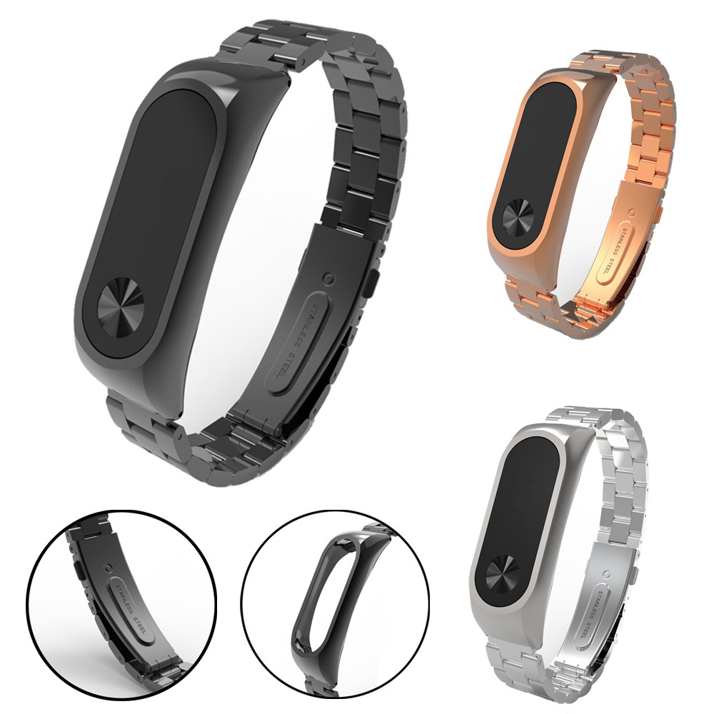 Watch Strap Watch Band For Xiaomi Mi Band 2 Stainless Steel Luxury Wristband Metal Ultrathin New Strap 3#0919 original xiaomi steel net watch band for miband