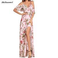 Bohemia Chiffon Floral Women Dress Print Strap Sexy Off Shoulder Short Sleeve Long Maxi Party Boho Dresses Summer 2018 Vestidos