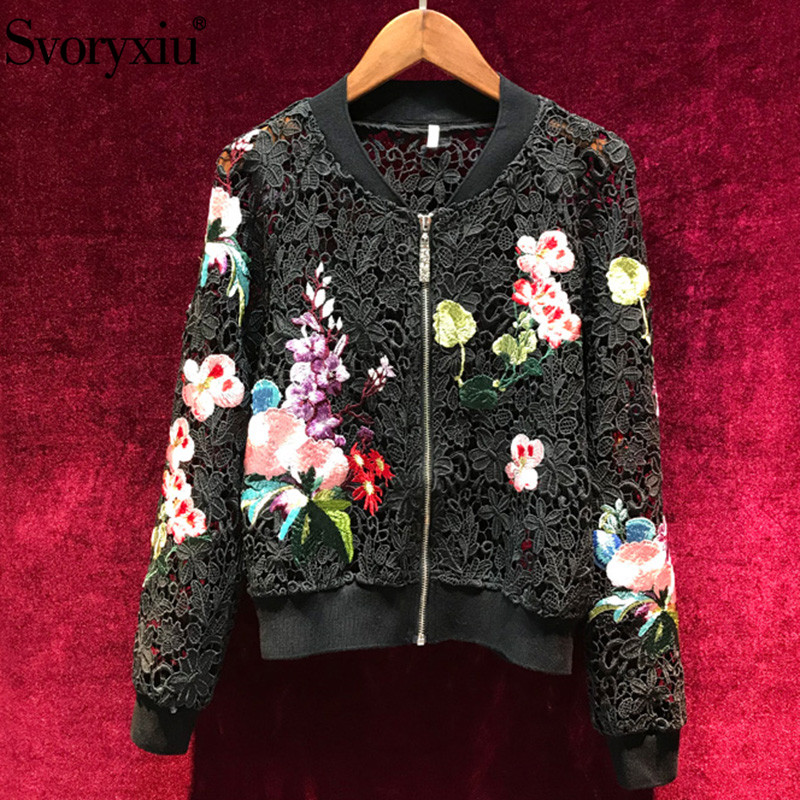 Svoryxiu Designer Spring Summer Sexy Hollow Out Embroidery Black Jackets Outwear Women s Embroidery Cardigan Jackets