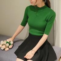 2017 New Spring Korean Half Sleeve Shirt Collar Solid Elastic Thin Sweater Five Sleeve Sweater Girl