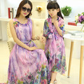 Factory Direct Parent-Child Outfit Chiffon Floral Sundress Mom & Daughter Appliques Bohemian Beach Dress Family One Piece G382