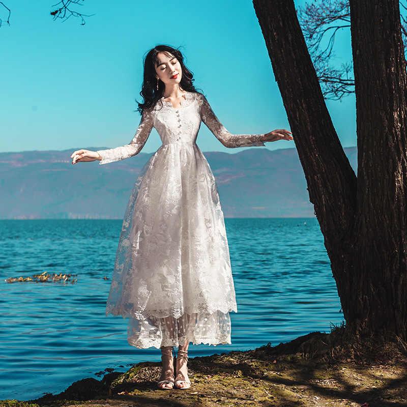 05bd0dac36f Sweet Mori Girl Princess Retro White Fairy Long Dress V-neck Embroidery  Lace Gauze Dress