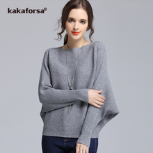 Kakaforsa Sexy Elastic Knitted Winter Sweater Women Solid Batwing Sleeve Cotton Pullovers Long Sleeve Slash Neck Sweaters