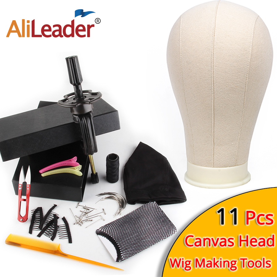 AliLeader Best 11pcs Wig Making Kit Manikin Canvas Dome Head With Stand Spandex Cap Block Mannequin