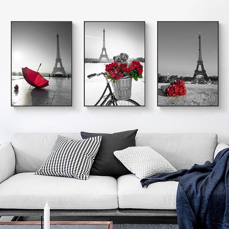 Северный красный цветок, роза, зонтик, холст, картина, Эйфелева башня, настенные художественные плакаты и принты, Настенная картина для гостиной, домашний декор
