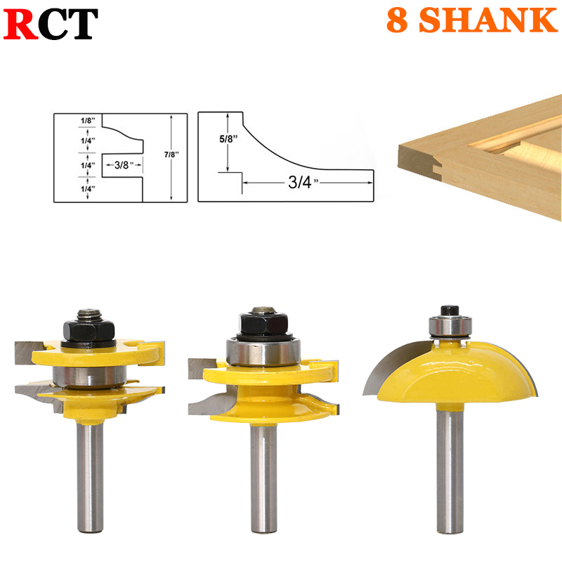 3pcs Door Panel Woodworking Cutter Tools Cabinet Router Bits Set -8mm Shank