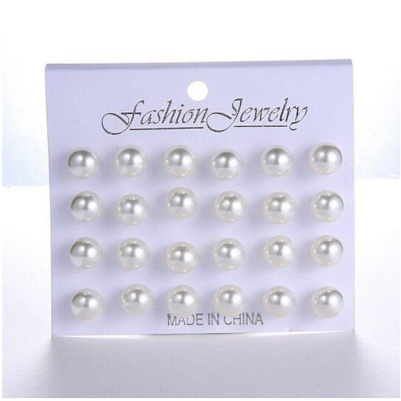 12 çift/takım beyaz benzetilmiş İnci saplama küpe seti kadınlar takı aksesuarları Piercing topu küpe kiti Bijouteria brincos
