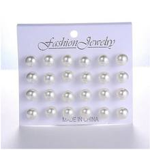 12 pairs/set White Simulated Pearl Stud Earrings Set For Women Jewelry Accessories Piercing Ball Earrings kit Bijouteria brincos(China)