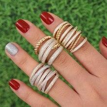 GODKI Monaco Ontwerp Luxe Twist Stapels Stapelbare Ringen Voor Vrouwen Wedding Kubieke Zirkoon Engagement Dubai Naija Bridal Finger Ring