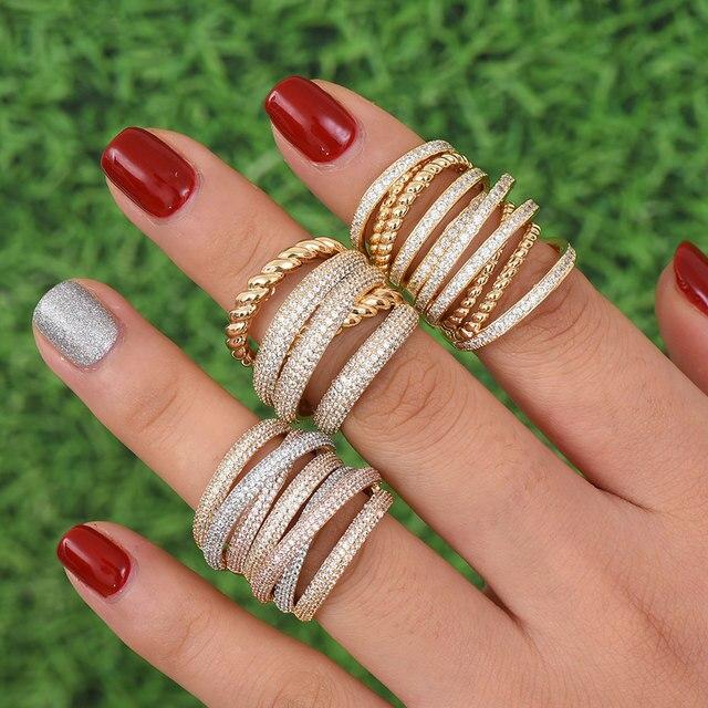 GODKI Monaco Thiết Kế Sang Trọng Twist Ngăn Xếp Có Thể Xếp Chồng Nhẫn Đối Với Phụ Nữ Cưới Cubic Zircon Engagement Dubai Naija Bridal Finger Nhẫn