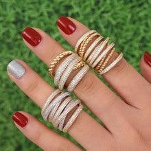 GODKI Monaco ออกแบบหรูหรา Twist กองซ้อนกันได้แหวนสำหรับผู้หญิงงานแต่งงาน Cubic Zircon หมั้นดูไบ Naija เจ้าสาวแหวน