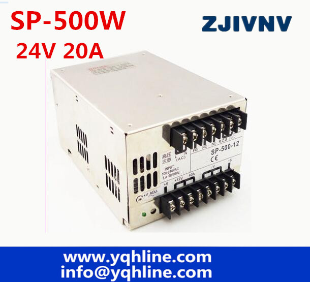 ac to dc 500W 24v 20A SP-500-24 SP series PFC 85-264Vinput PFC led driver source switching power supply 24volt 5 7w light dimmer internal led source power supply driver green yellow ac 85 160v 170 277v