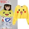 Pokemon Pikachu Hoodies Animado Harajuku Tops T-shirt de Manga Larga Casual Camiseta Top Lindo Pullovers Bulbasaur Charmander Squirtle WXC