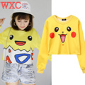 Pokemon Pikachu Hoodies Harajuku Anime Tops Tee Casual Long Sleeve Tee Top Cute Charmander Pullovers Bulbasaur Squirtle WXC