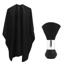 1PC Hair Salon Cape +1PC Neck Duster, Black Head Hairdressing Cape For Adult, Hair Cutting Cape For Professional Salon Tool J75(China)