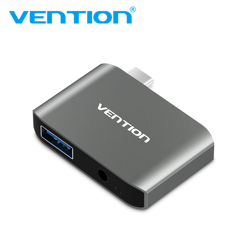 Vention Type C USB 3.0 AUX Adapter Type C to USB 3.0 Converter Multifunctional 2 in 1 USB-C to AUX Adapter for MacBook