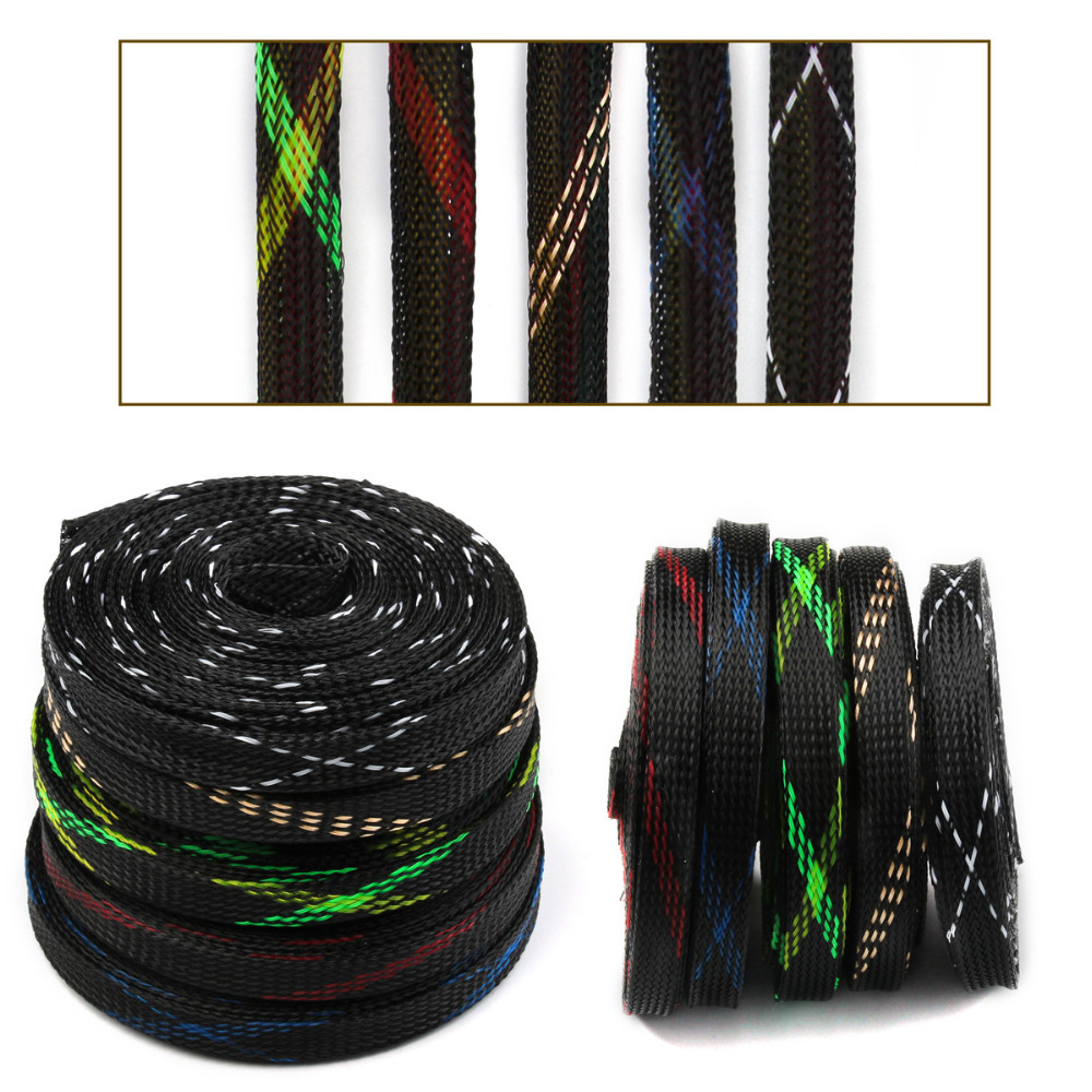 10mm Braided Cable Sleeving 5 Colors Length 5M  Insulation Tight PET Expandable 150% Wire Cable Sleeves Gland Wire Sheathing