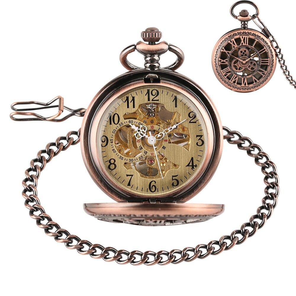 Rose Gold Copper Gear Wheel Hand Wind Mechancial Pocket Watch Retro Men Women Fob Chain Clock Best Gifts