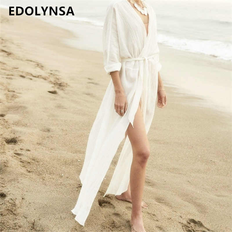 White Solid Vacation Boho Bohemian Beach Dress Tunic Self Belted High Waist Maxi  Dress 2019 Summer 80081c0630c5