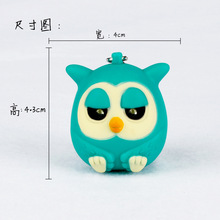 The owl LED sound luminous key chain Creative small toys flashlight gift for boy and girl accessories wholesale