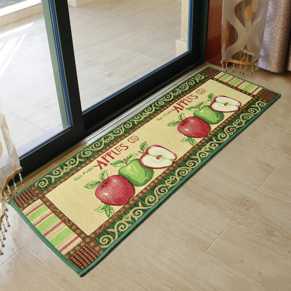 yazi Vintage Country Style Apples Kitchen Rug Runner Soft Floor Carpet Bath  Entrance Door Mat 120x45cm
