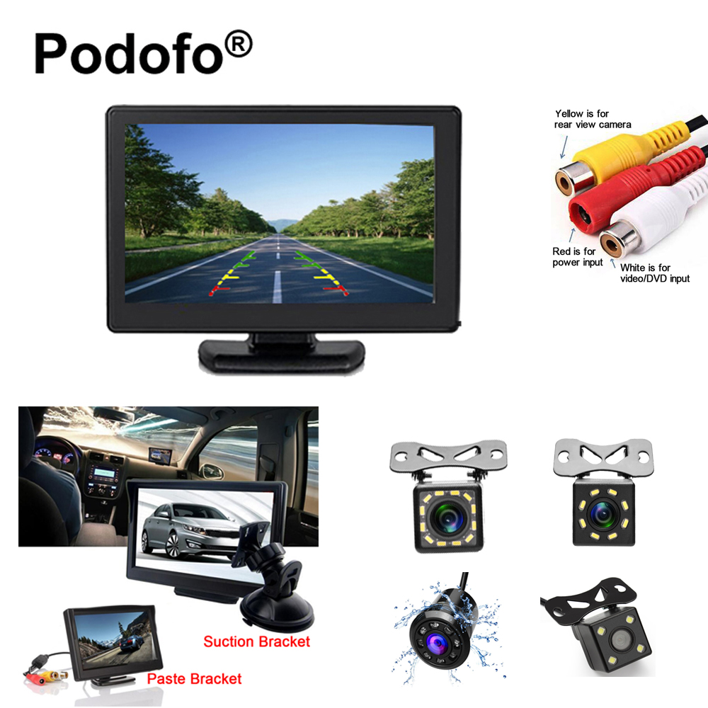 Original Podofo 4.3 TFT LCD Display Car Monitor Rearview Parking Reverse System Monitor for Rearview Backup Camera Car-styling