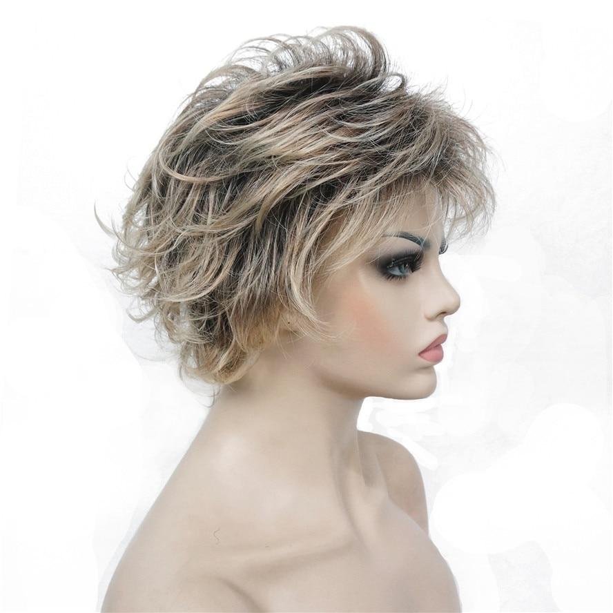 StrongBeauty Kvinnors Short Straight Bloned Mix Syntetisk Full - Syntetiskt hår - Foto 6