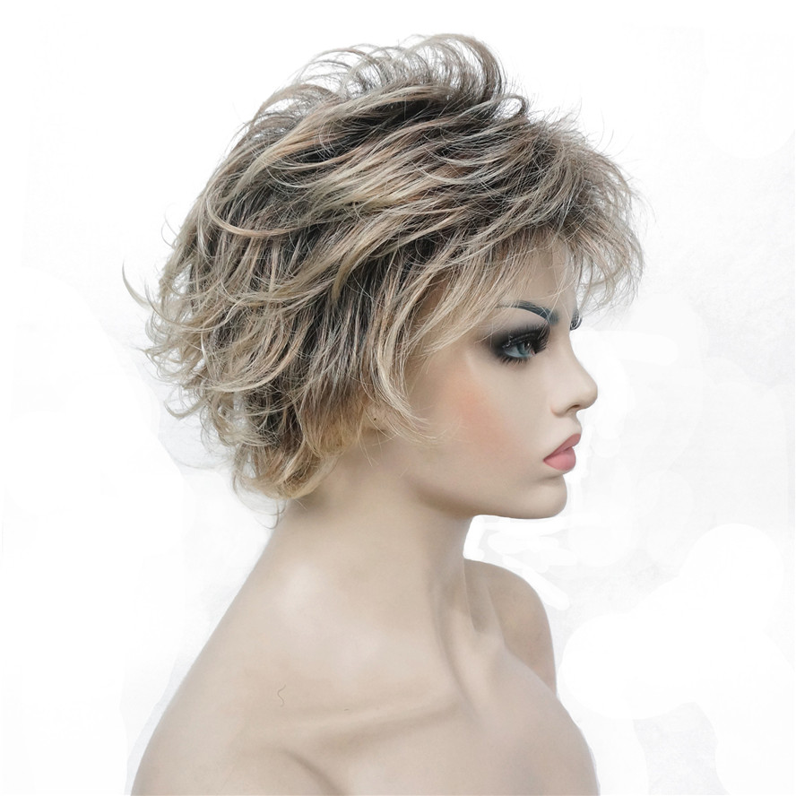 Image 5 - StrongBeauty Women's Synthetic Wigs Layered Short Straight Pixie Cut Bloned Mix Natura Full Wig-in Synthetic None-Lace  Wigs from Hair Extensions & Wigs