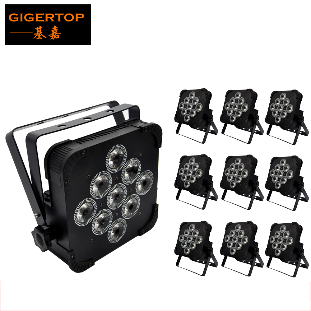 10pcs/Lot American DJ Flat Led Par Light 9x12W Tyanshine RGBW 4IN1 Color Mixing Low Profile Led Par Can Wash Stage DMX 4/7CH