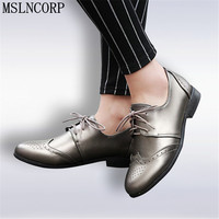 Size 34 50 Fashion Loafers Women Flats Shoe Top Quality Leather Women Spring Bullock Style Moccasins