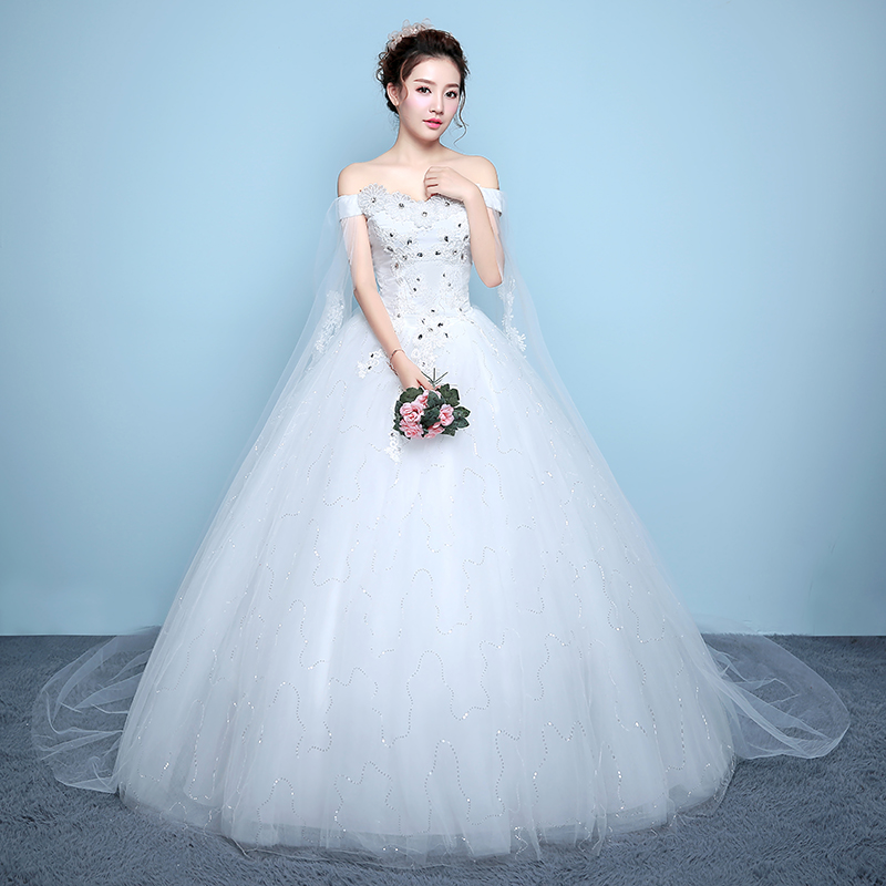 Women's Off Shoulder Lace Wedding Dresses Wedding Gown With Crystal