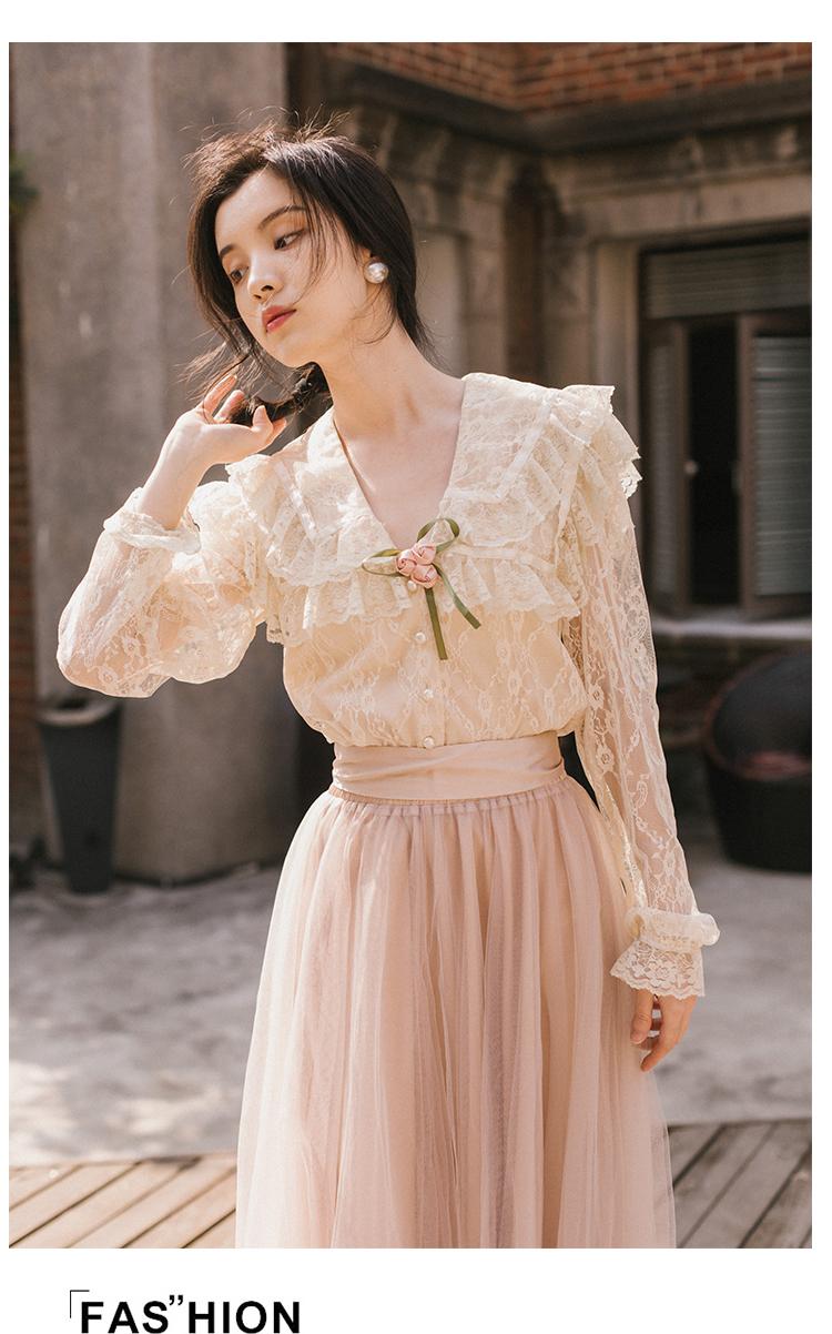 Natural 本日の割引 本日の割引 新ファッション女性ツーピースセットサマードレスセットレトロフランスの春ブラウス 5