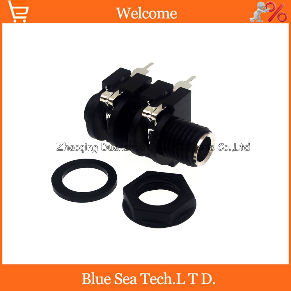 6.5 New good quality Guitar microphone Mono audio plug 1/4 6.35mm female socket/jack audio adaptor connector,4Pin 8pcs cylinder clip end pin mono panel output jack socket for electric guitar bass 6 35mm