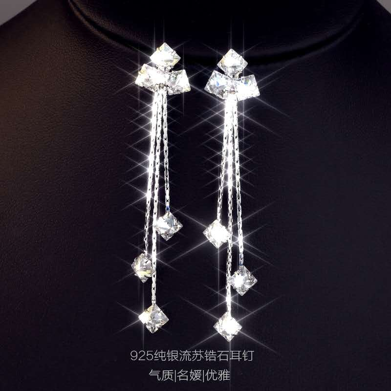2020 Simple shiny square zircon jewelry Fit Women Crystal from Austrian 925 silver needle temperament long earrings female