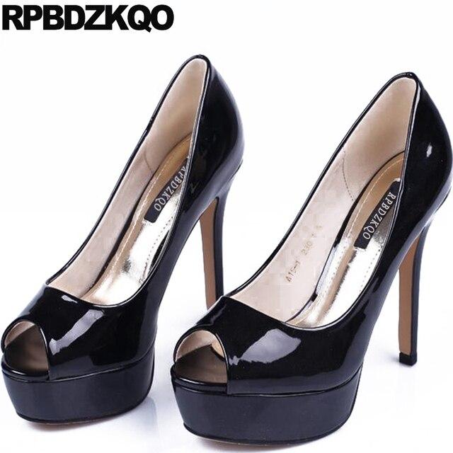 Super Extreme Platform Black Stiletto Ultra 12cm 5 Inch Stripper Ladies  Party High Heels Patent Leather Fetish Shoes Peep Toe 671e6c051d55