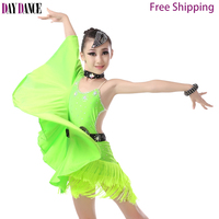 Girls Kids Bat Sleeve Latin Dance Dresses Fringed Skirts Latin Competition Costumes Children Ballroom Dancing Stage Wear