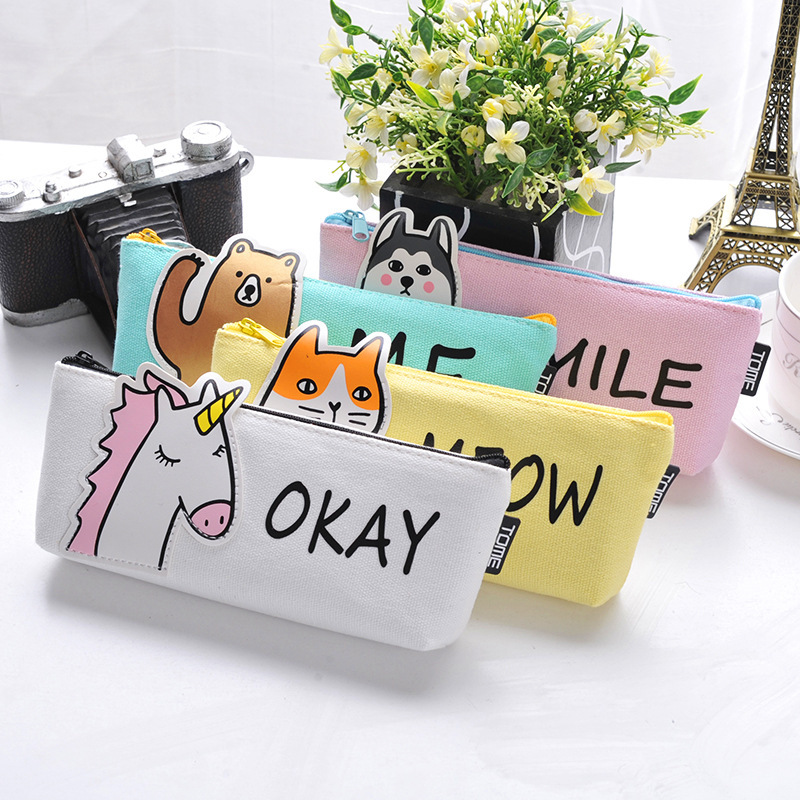 12Pcs Cute Animal Fabric Pencil Case pencil bag kids gifts Large Capacity School Supplies Stationery Pencilcase pen box 04954