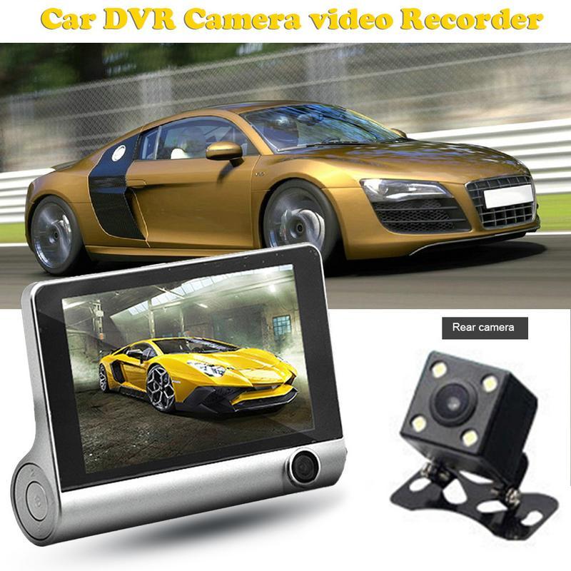 Dash Cam DVR Camera Video Recorder G-sensor Video Registrator 3 Lens Camcorder WDR Night Vision Auto 4.0inch Tachograph