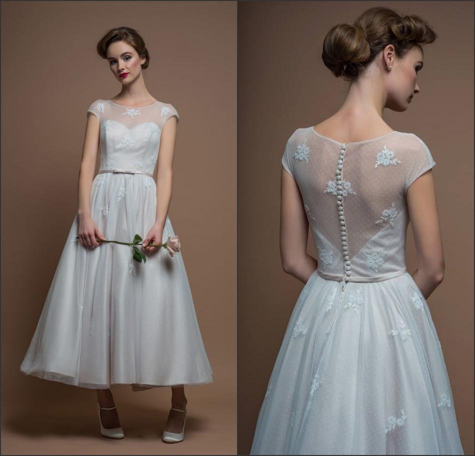 Simple tea length wedding dress reviews online shopping for Simple wedding dress design
