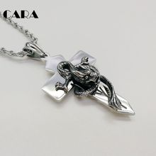 CARA New high polished 316L Stainless steel 3D dragon Cross pendant necklace mens charm fashion gift CARA0303