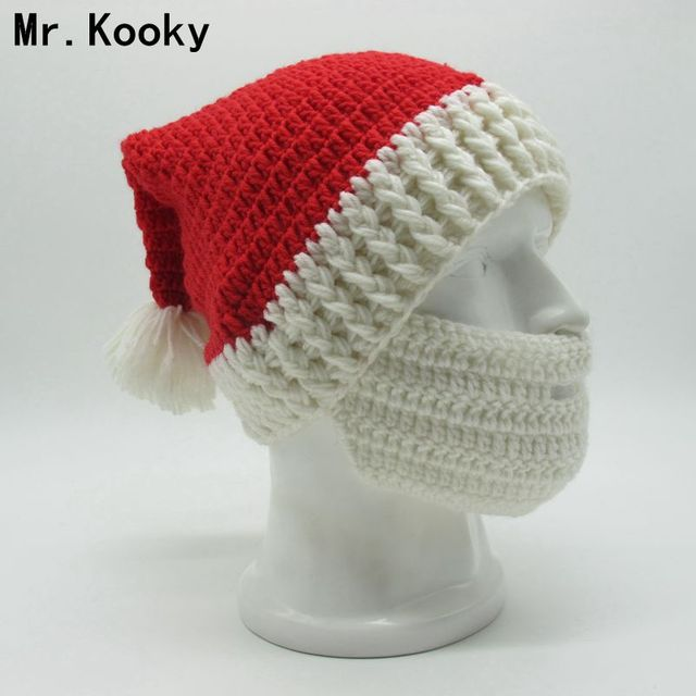 c6046d55d93 Mr.Kooky Winter Crocheted Men s Santa Claus Father Xmas Hats With Colourful  Beard Handmade Christmas Present Party skull Beanies