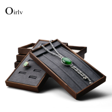 FANXI Wood Jewelry Display Stand Earring Tray Ring Shelf with Soft Sponge for Shop